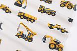 """Фланель детская """"Строительно-дорожные машины"""", фон - белый, ширина 240 см, фото 2"""
