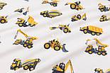 """Фланель детская """"Строительно-дорожные машины"""", фон - белый, ширина 240 см, фото 4"""