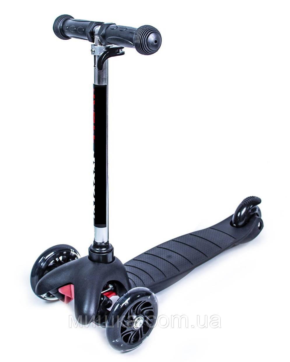 Самокат детский Micro Mini Best, светящиеся колеса, черный