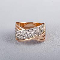 Золотое кольцо широкое с фианитами КП1626