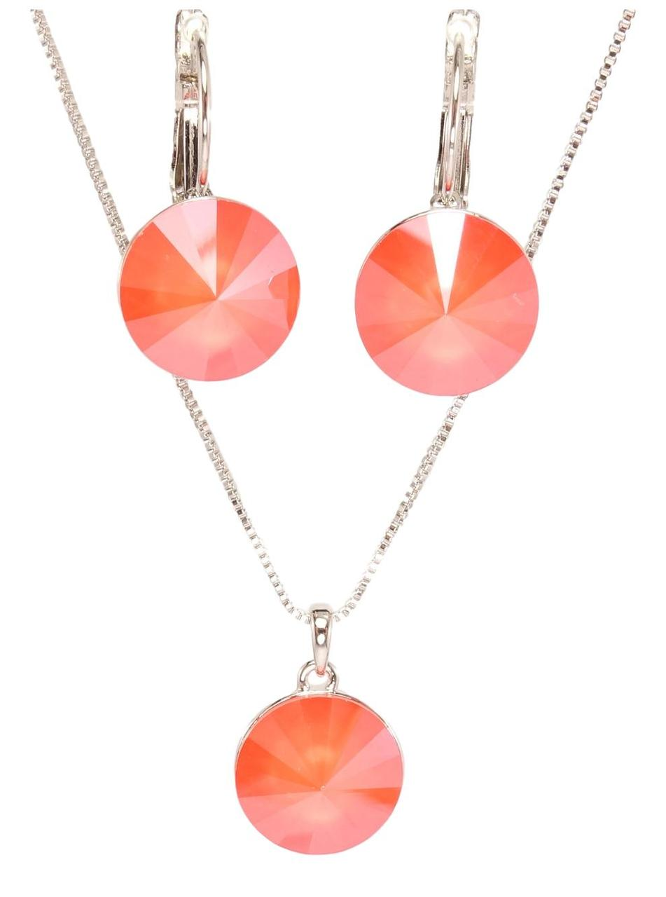 "Набор XP Родий с кристаллами Swarovski Серьги Кулон на цепочке ""Риволи Light Coral Lacquer"" длина 39-44см"