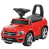 Детская машинка каталка-толокар с ручкой M 3186 L-3, Mercedes-Benz, кожаное сиденье, красный, фото 2