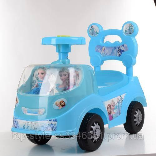 Детская машинка каталка-толокар Bambi Frozen 318-4 голубой с рисунком храбрая сердцем