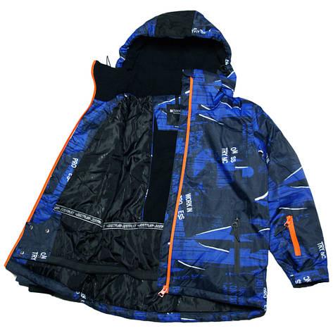 Детская зимняя мембранная термокуртка  для мальчика 152-170 рост Just Play синяя, фото 2