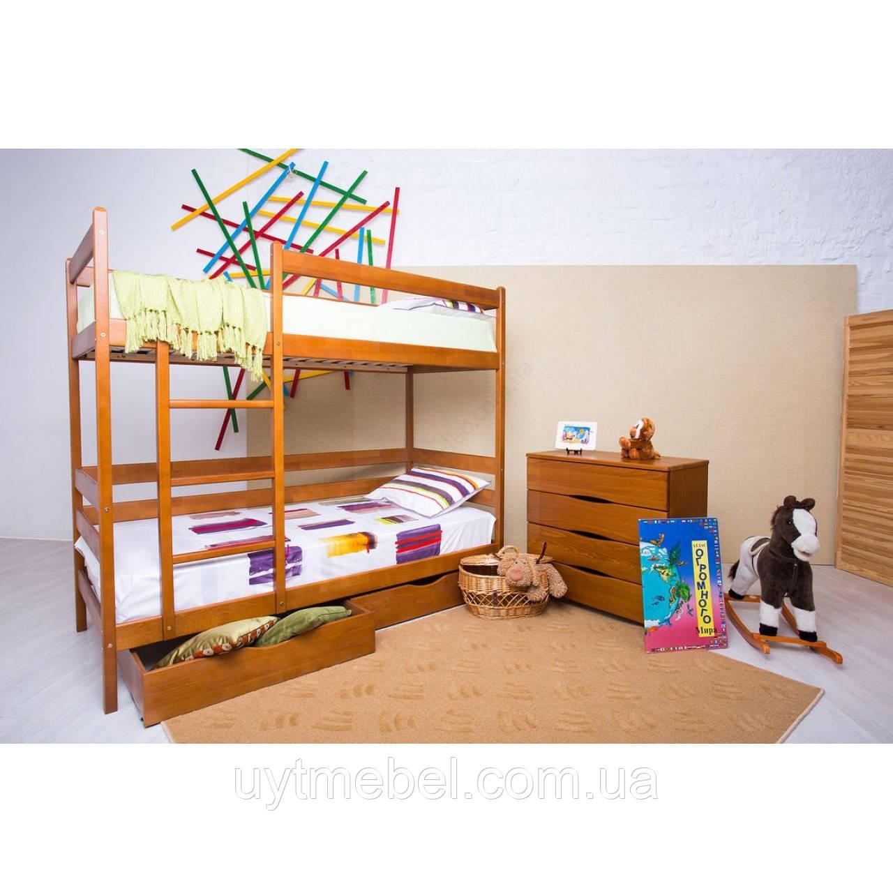 Ліжко 2-х ярусне Амелі 900х2000+2 ящ.борт ЛВ бук (Олімп)
