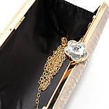Клатч-бокс вечерний женский 0719 золотистый из парчи с блестками на цепочке, фото 2