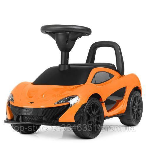 Детская машинка каталка-толокар от1 года, эко кожа,McLaren оранжевый
