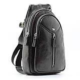 Мужской кожаный рюкзак слинг Desisan 1464 черный на одно плечо банан из натуральной кожи, фото 2