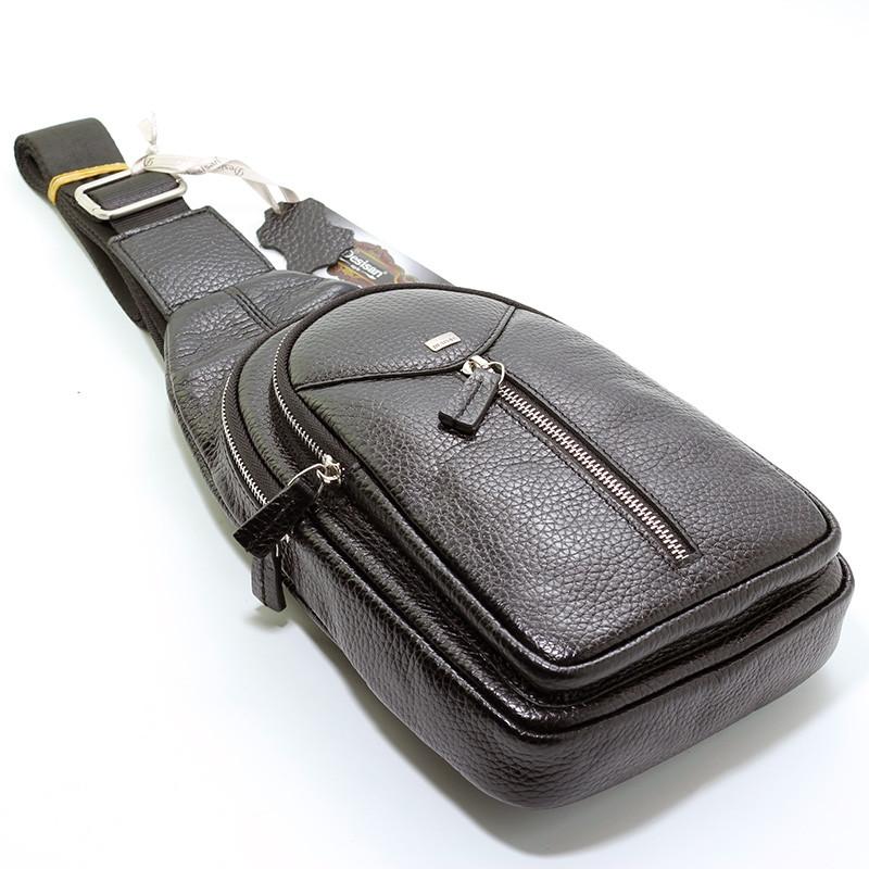 Мужской кожаный рюкзак слинг Desisan 1464 черный на одно плечо банан из натуральной кожи