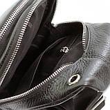 Мужской кожаный рюкзак слинг Desisan 1464 черный на одно плечо банан из натуральной кожи, фото 5