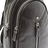 Мужской кожаный рюкзак слинг Desisan 1464 черный на одно плечо банан из натуральной кожи, фото 6