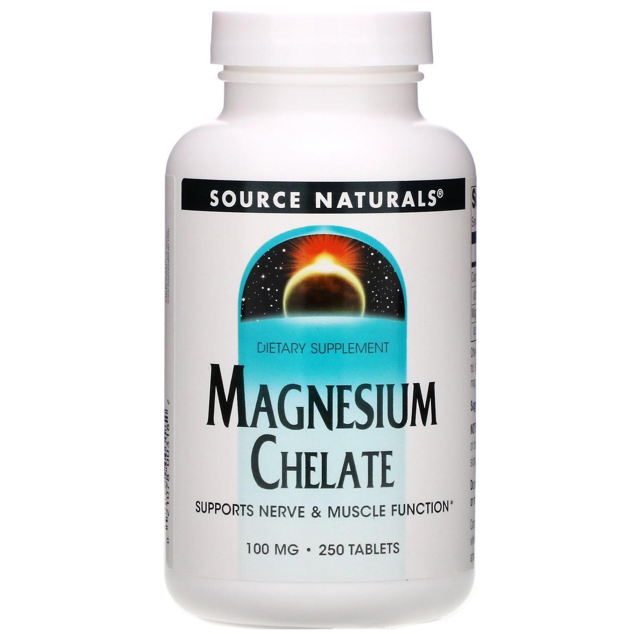 Магний хелат, 100 мг, 250 таблеток, Source Naturals