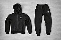 Теплый спортивный костюм Adidas (Адидас) темно серый (ЗИМА) с начесом толстовка с замком штаны мастерка