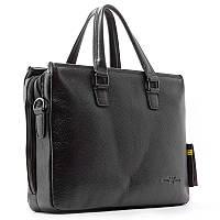 Мужская сумка-портфель черная кожаная для документов или ноутбука arm-6619-15 bla, фото 1