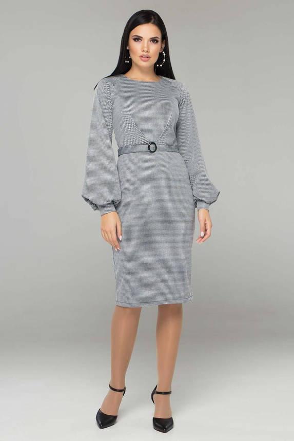 Трикотажное платье в клетку с поясом офисно-деловое рукав-фонарик, фото 2