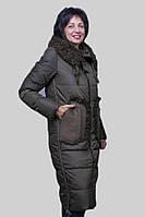 Женский пальто пуховик Mishele 20011 цвета хаки, женские пуховики больших размеров