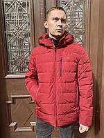 Пуховик пальто куртка зимняя бомбер мужской тонкий легкий короткий тёплый красный спортивный молодежный с капю