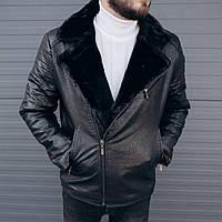 Зимняя мужская чёрная куртка косуха на меху кожанка мужская косуха кожзам с меховым воротником зимняя