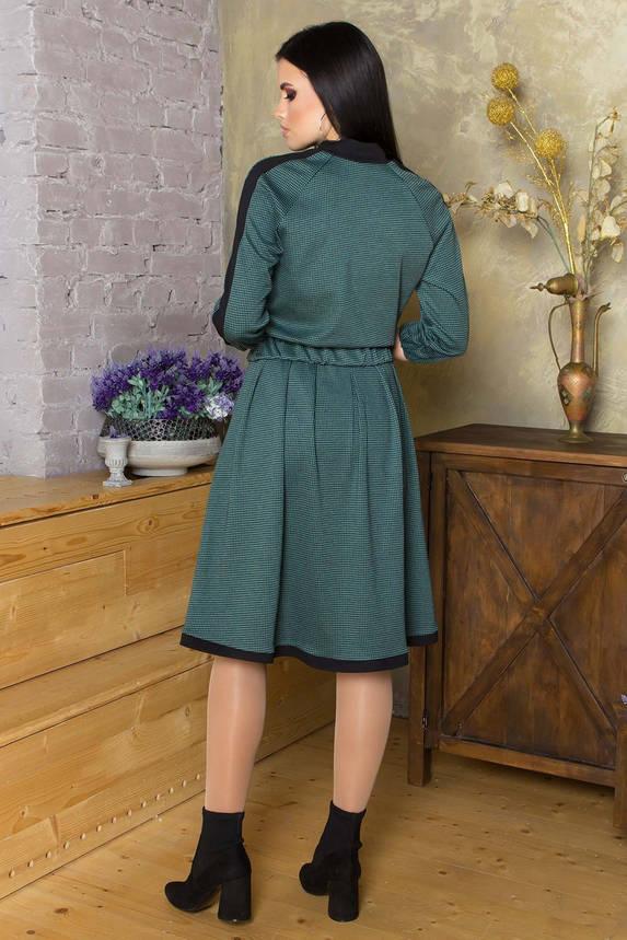 Женский трикотажный костюм с юбкой в клетку зеленый, фото 2