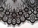 Ажурное французское кружево шантильи (с ресничками) черного цвета шириной 23 см, длина купона 3,0 м., фото 4