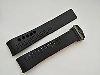 Каучуковый ремешок для часов, черный, заокругленное окончание. Черная застежка. 20 мм, фото 1