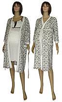 Комплект у пологовий будинок, нічна сорочка і халат 19004 Амариліс Вензель коттон Молочно-коричневий