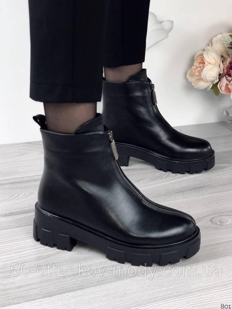 Женские зимние ботинки с молнией впереди