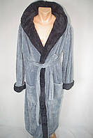 Мужской халат для дома и бани  серый