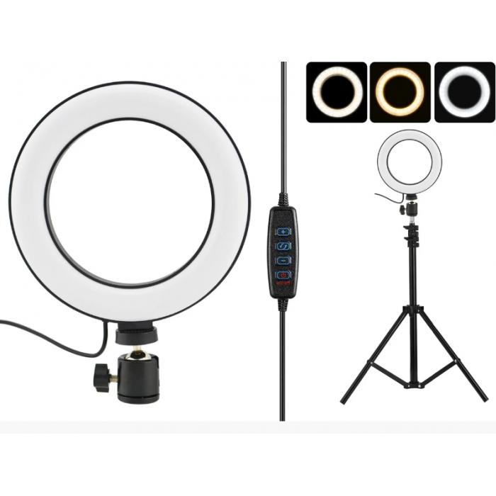 Кільцева LED лампа 20 см селфи кільце для блогера ЗІ ШТАТИВОМ