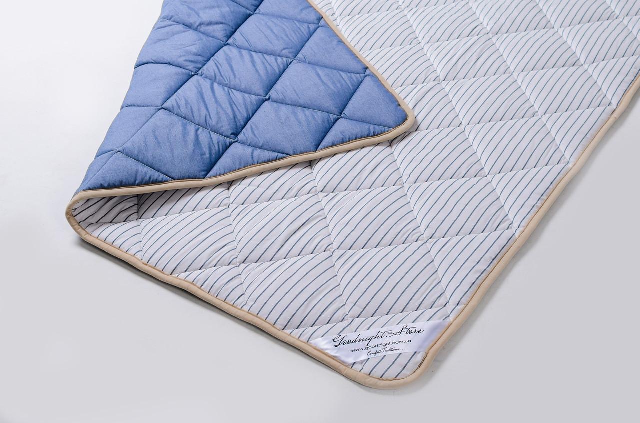 Одеяло теплое овечье из шерсти мериносов синее в полоску 140х200