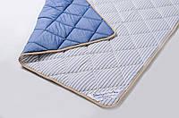 Одеяло теплое овечье из шерсти мериносов синее в полоску 140х200, фото 1