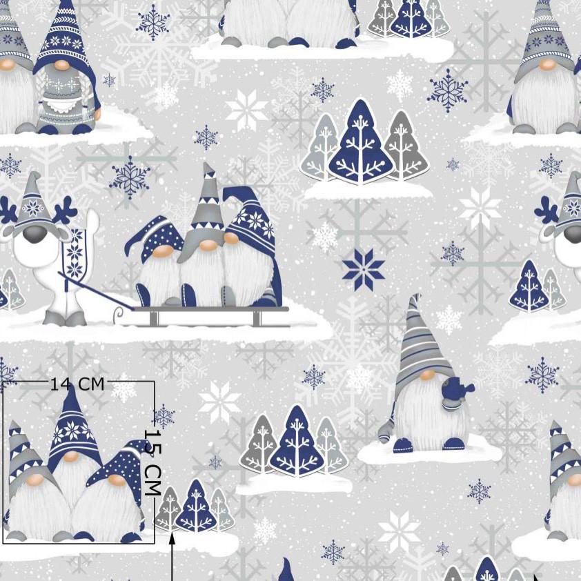 ✁ Відріз Бавовняної тканини Гномики сіро-сині