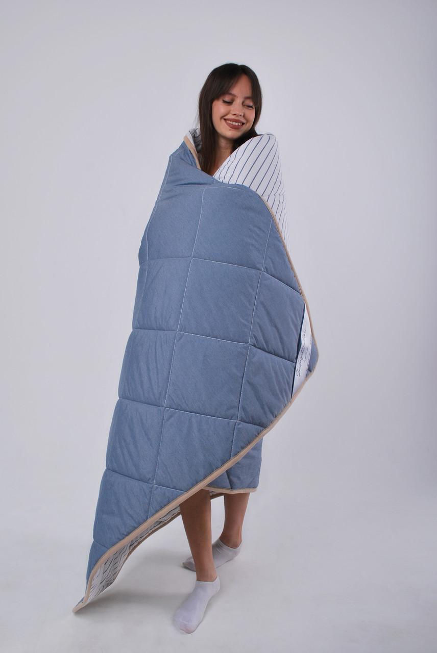 Одеяло овечье из шерсти мериносов облегченное Lite Синее полоска 180х200