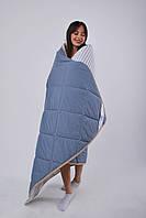 Одеяло овечье из шерсти мериносов облегченное Lite Синее полоска 180х200, фото 1