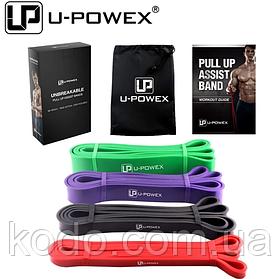Петли для подтягиваний, Набор из 4-х (от 7 до 56 кг) резиновые петли для спорта U-Powex латекс 100%