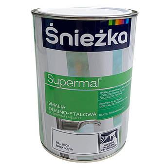 Эмаль масляно-фталевая Sniezka Supermal белый глянец RAL 9003 (расход:16 кв.м/л.) 0,8 л