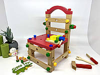 Развивающий деревянный конструктор. Стул + инструменты