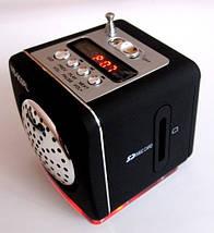 Портативная колонка-радио WS-909RL MP3/SD/USB/AUX/FM/LED фонарь, black, фото 2