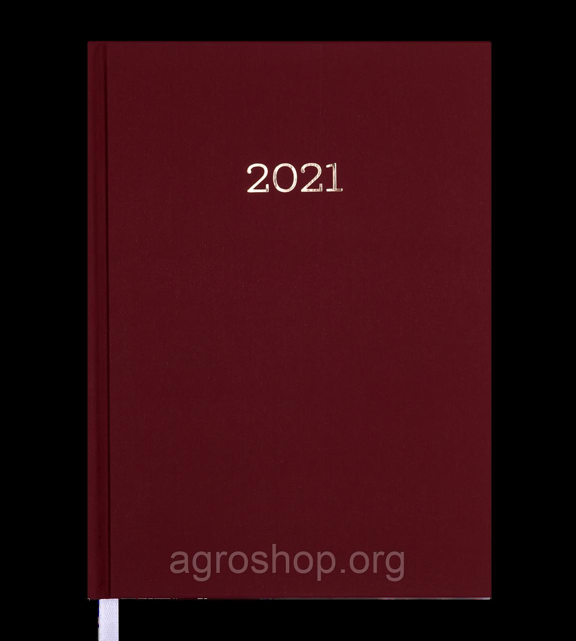 Щоденник датов. 2021 MONOCHROME, A5, бордовий