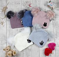 """Детсике шапки зимние для девочки """"Зайка-паетка"""", фото 1"""