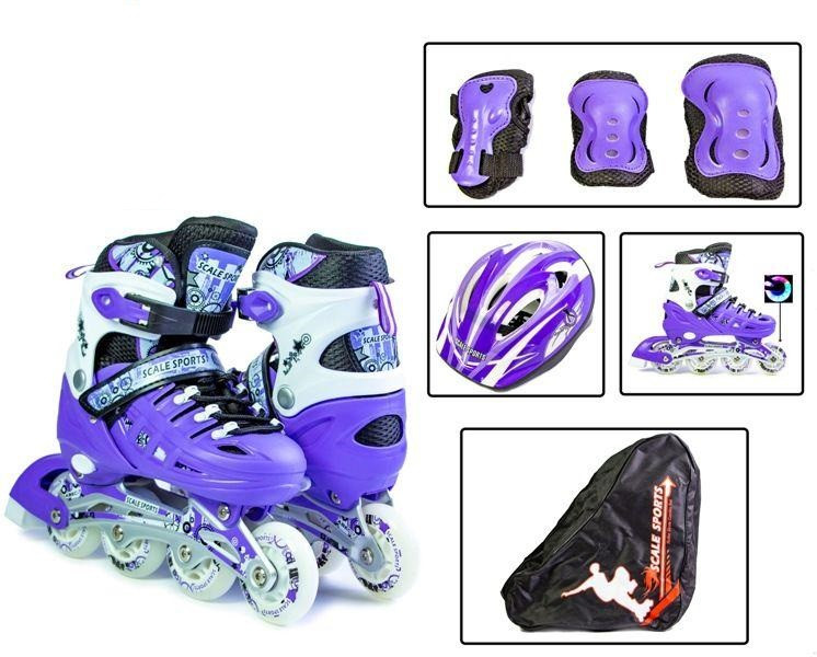 Комплект Ролики, Защита, Шлем Scale Sport Фиолетовые размер 30-33