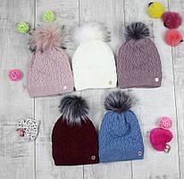"""Детсике шапки зимові для дівчинки """"Брошка"""""""