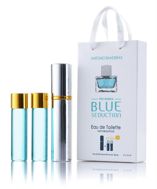 Подарочный парфюмерный набор с феромонами женские Antonio Banderas Blue Seduction for Men 3х15 мл