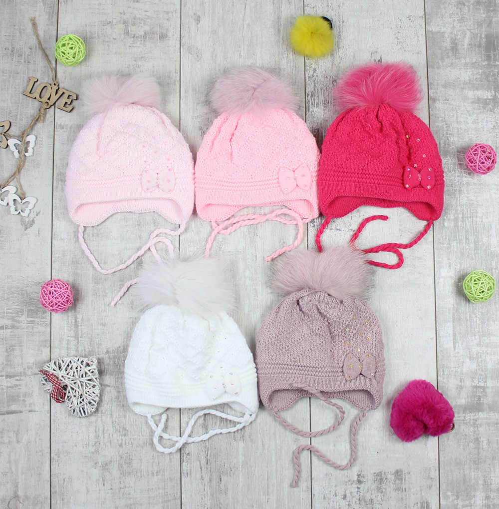 """Детсике шапки зимові для дівчинки """"Бантик"""""""