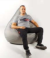 Крісло мішок пуфик груша сіре XХL 150х100 см