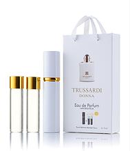 Подарочный парфюмерный набор с феромонами женский Trussardi Donna Trussardi (Труссарди Донна) 3x15 мл