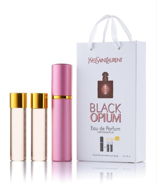Подарунковий парфумерний набір з феромонами жіночий Y. S. Laurent Black Opium 3х15 мл