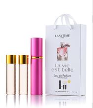 Подарочный парфюмерный набор с феромонами женский Lancome La Vie Est Belle (Ланком Ла Ви Э Бель) 3x15 мл