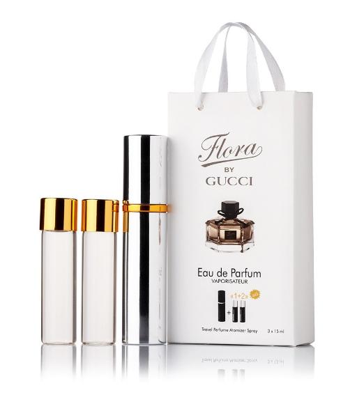 Подарочный парфюмерный набор с феромонами женский Gucci Flora by Gucci (Гуччи Флора бай Гуччи) 3x15 мл