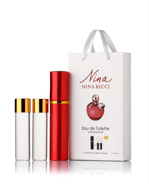 Подарочный парфюмерный набор с феромонами женский Nina Ricci Nina (Нина Риччи Нина) 3x15 мл